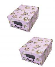 Ordnungsboxen Box Clip 2er Set Rosa dream mit Fenster
