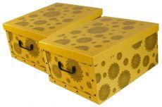 Ordnungsboxen Deko Karton 2er Set Box Clip Gelb Mandala Blumen Grau Aufbewahrungsbox
