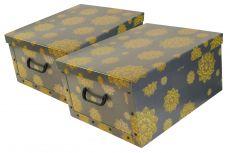 Ordnungsboxen Deko Karton 2er Set Box Clip Mandala Blumen GelbAufbewahrungsbox