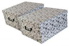 Ordnungsboxen Deko Karton 2er Set Box Clip Mandala Blumen Schwarz Aufbewahrungsbox