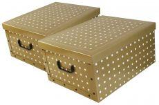 Ordnungsboxen Deko Karton 2er Set Box Clip Punkte Aufbewahrungsbox