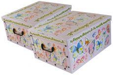 Ordnungsboxen Deko Karton 2er Set Box Clip Schmetterlinge Aufbewahrungsbox