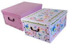Ordnungsboxen Deko Karton 2er Set Box Clip Schmetterlinge und  Violett Aufbewahrungsbox